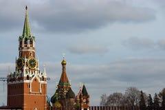 Tower of the Russian Kremlin. Spasskaya Tower of the Russian Kremlin against the background of the sky Royalty Free Stock Image