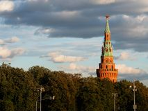 Tower of Russian Moscow Kremlin background royalty free stock photo