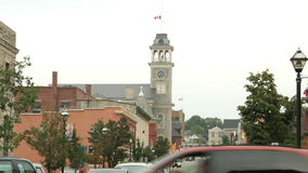 Tower's clock in Cambridge, downtown stock footage