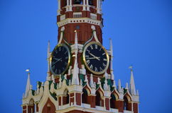 Tower's clock. Red square. Night Stock Photo