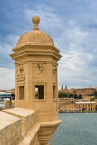 Tower in Safe Heaven Garden of Senglea in Malta. The Eye and Ear Vedette in Safe Heaven Garden of Senglea in Malta Stock Photo