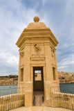 Tower in Safe Heaven Garden of Senglea in Malta. The Eye and Ear Vedette in Safe Heaven Garden of Senglea in Malta Stock Images