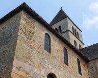 Tower on Saint-Léon-sur-Vezere's Church. Tower on the church in France's Saint-Léon-sur-Vezere royalty free stock photos