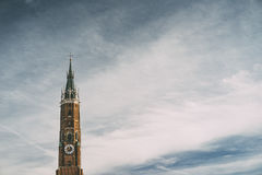 Tower of saint Martin cathedral in the center of Landshut Germany Royalty Free Stock Photography