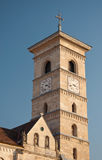 Tower of Saint Michael Cathedral, Alba Iulia. Architectural detail of the Saint Michael Catholic Cathedral of Alba-Iulia, Romania. Established in 1009, it is the stock photos