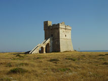Tower in Salento. Ancient watching tower in the coast of Salento (Italy Stock Images