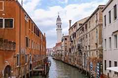 Tower of San Giorgio dei Greci above the canal in Venice Royalty Free Stock Images