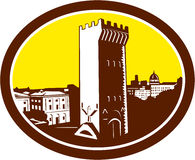 Tower of San Niccolo Florence Woodcut Stock Photos