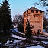 Tower in sanatorium park with palace in Nemyriv, Vinnytsya region, Ukraine. Aerial view shcherbatova countess palace sanatorium park nemyriv  vinnytsya region royalty free stock photography