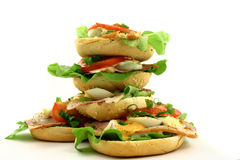 Tower of sandwiches. Big pile of sandwiches looking like a tower Stock Image