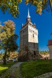 Tower of Saschiz, architecture in Transylvania Royalty Free Stock Photo