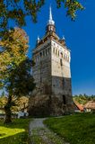 Tower of Saschiz, architecture in Transylvania Stock Photos