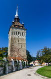 Tower of Saschiz fortified church, Transylvania Royalty Free Stock Photography