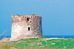 Tower by the sea. Aragonese tower by the sea in Stintino Stock Photo