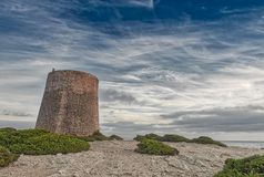 Tower of Ses Portes. Defense tower called Ses Portes, built in the 16th century Stock Photo