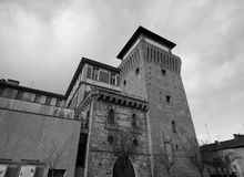 Tower of Settimo in Settimo Torinese in black_and_white Royalty Free Stock Images