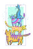 Tower from several color cats standing the friend on the friend. Tower from several color cats stand the friend on the friend vector illustration