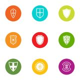 Tower shield icons set, flat style. Tower shield icons set. Flat set of 9 tower shield vector icons for web isolated on white background vector illustration