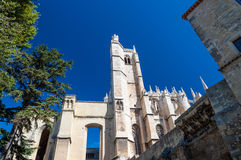 Tower and side of Saint Just Cathedral at Narbonne in France Royalty Free Stock Images
