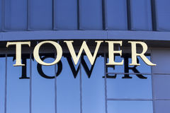 Tower sign Stock Photography