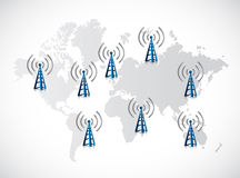 Tower signal and connection world map Stock Photo
