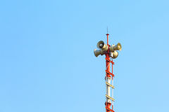 Tower signal warning speaker. Photo tower signal warning speaker Stock Photos