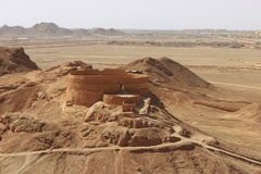 Tower of Silence near Yazd city, Iran. A Tower of Silence is a circular, raised structure used by Zoroastrians for exposure of the dead, particularly to Stock Photography