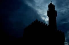 Free Tower Silhouette At Night Stock Images - 26013264