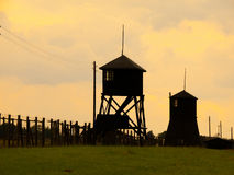 Tower silhouettes of concentration camp Royalty Free Stock Images