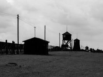 Tower silhouettes of concentration camp Royalty Free Stock Image