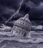 Tower sinking in flood and storm Royalty Free Stock Photography