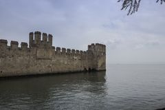 The towers of the castle of Sirmione. royalty free stock photography