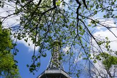 Tower. Sky overcast wood spring royalty free stock photos