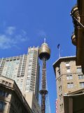 Tower with skydeck opposite a blue sky. Sydney Tower eye with the observation deck in New South Wales in Australia Stock Image