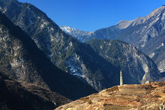 Tower in snow mountain. The beautiful landscape of snow-capped mountains Royalty Free Stock Photography