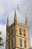 The tower of the Southwark Cathedral in London Royalty Free Stock Photography