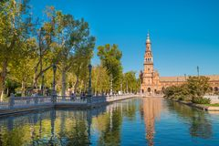 Tower at Spain Square, Plaza de Espana, in Sevilla royalty free stock image
