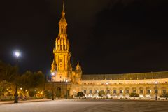 Tower at Spain Square in Sevilla at night. Andalusia, Spain stock photos