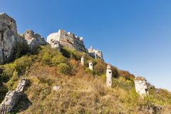 Tower of Spis Castle in Slovakia. Spissky hrad, National Cultural Monument UNESCO, one of the largest castles in Central Europe stock image
