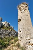 Tower of Spis Castle in Slovakia. Spissky hrad, National Cultural Monument UNESCO, one of the largest castles in Central Europe royalty free stock photography