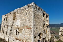 Tower of Spis Castle in Slovakia. Spissky hrad, National Cultural Monument UNESCO, one of the largest castles in Central Europe royalty free stock photos