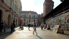 The tower of St Florian Gate Brama Florianska in Krakow, Poland stock video footage