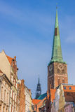 Tower of St. Jacobs church in the historical city of Lubeck. Germany Stock Image