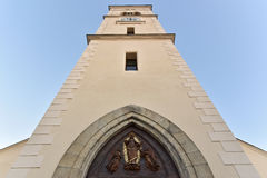 The tower of the St. Markéta Church. Kašperské Hory - Czech republic - EU royalty free stock images
