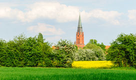 Tower of St. Martin in Nienburg. On the river Weser royalty free stock photography