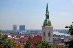 Tower of St. Martin's Cathedral in Bratislava Royalty Free Stock Photos