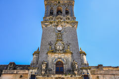 Tower of St. Mary of the Assumption in Arcos de la Frontera, Spain stock photography