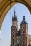 Tower of St. Mary Basilica  Mariacki on Main Market Square, Krakow, Poland.  Royalty Free Stock Images