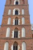 Tower of St. Mary's Basilica on Main Market Square, Krakow, Poland Royalty Free Stock Photo