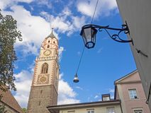 Tower of the St. Nicholas church in Merano, Alto Adige. Tower of the St. Nicholas church in Merano, South Tyrol, Italy royalty free stock images